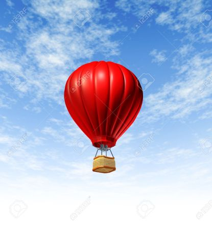 14345365-Hot-air-balloon-flying-up-to-the-sky-rising-high-as-a-symbol-of-adventure-and-freedom-on-a-blue-summ-Stock-Photo